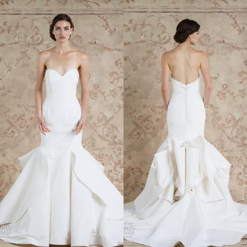 ef1d317e7d Charming 2016 Sareh Nouri Stain Mermaid Wedding Dresses White Vestido De  Novia Sweetheart Sexy Ruffle Train Bridal Gown Custom Made Online with ...