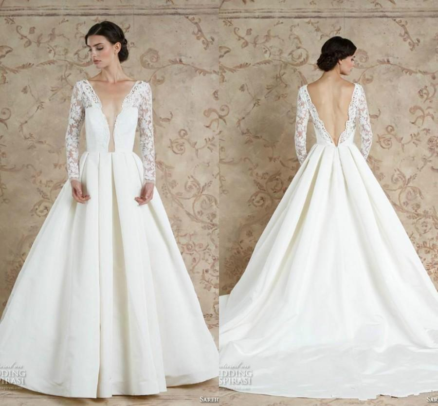 04edca2a2f1c Backless Long Sleeves Wedding Dresses 2016 Sareh Nouri Deep V Neck Sheer  A-Line Satin Chapel Train Sexy Bridal Ball Wedding Gowns Custom Online with  ...