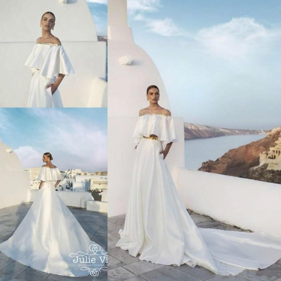 Fashion Off The Shoulder Wedding Dresses A Line Chapel