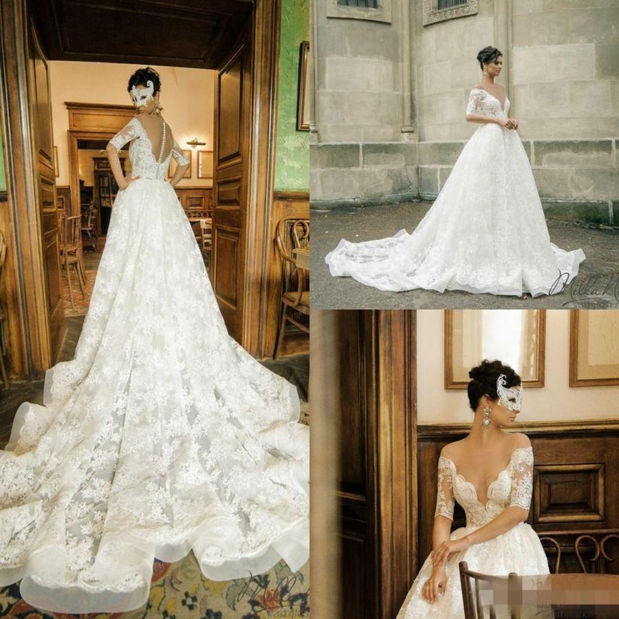 Sexy illusion 2016 wedding dresses sheer neck half sleeve for Half sleeve wedding dress
