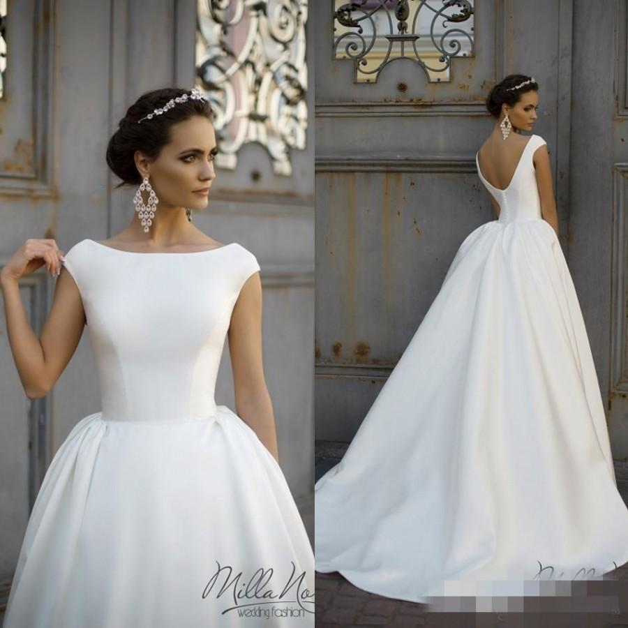 Simple style 2016 white wedding dresses jewel neck cap for Simple long sleeve wedding dresses