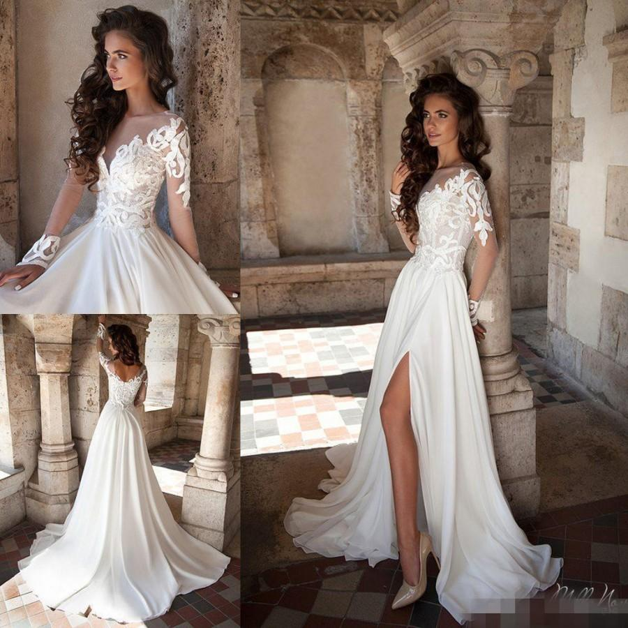 Sexy 2016 spring lace wedding dresses sheer neck long for Long sleeve chiffon wedding dress