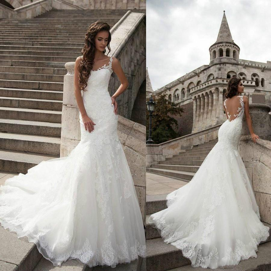 New Arrival Lace Wedding Dresses Backless 2016 Cheap Sheer
