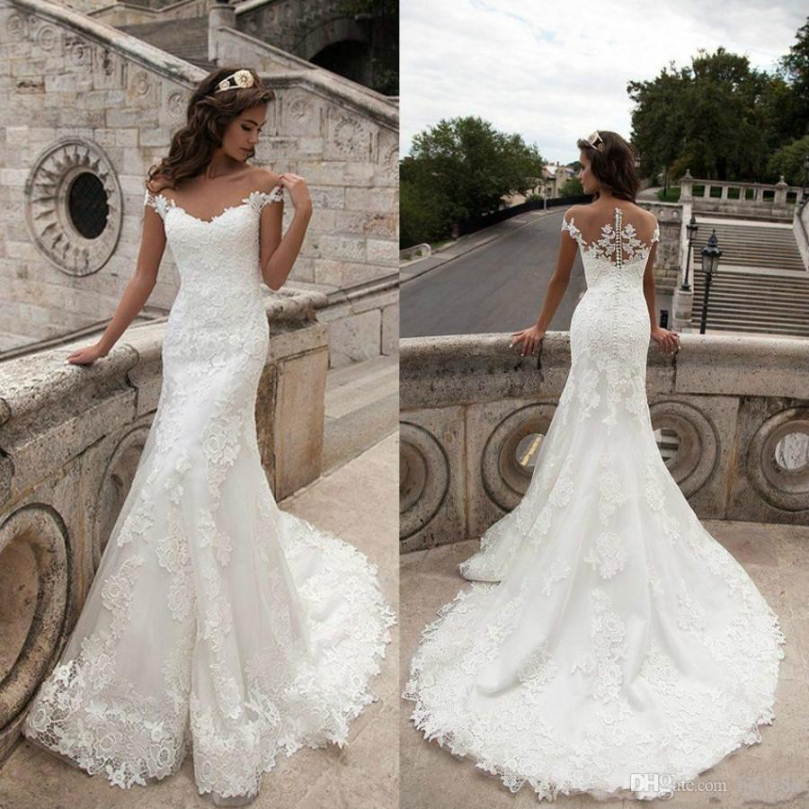 Lace Mermaid Wedding Dress Long Train : Newest full lace wedding dresses sheer neck cap