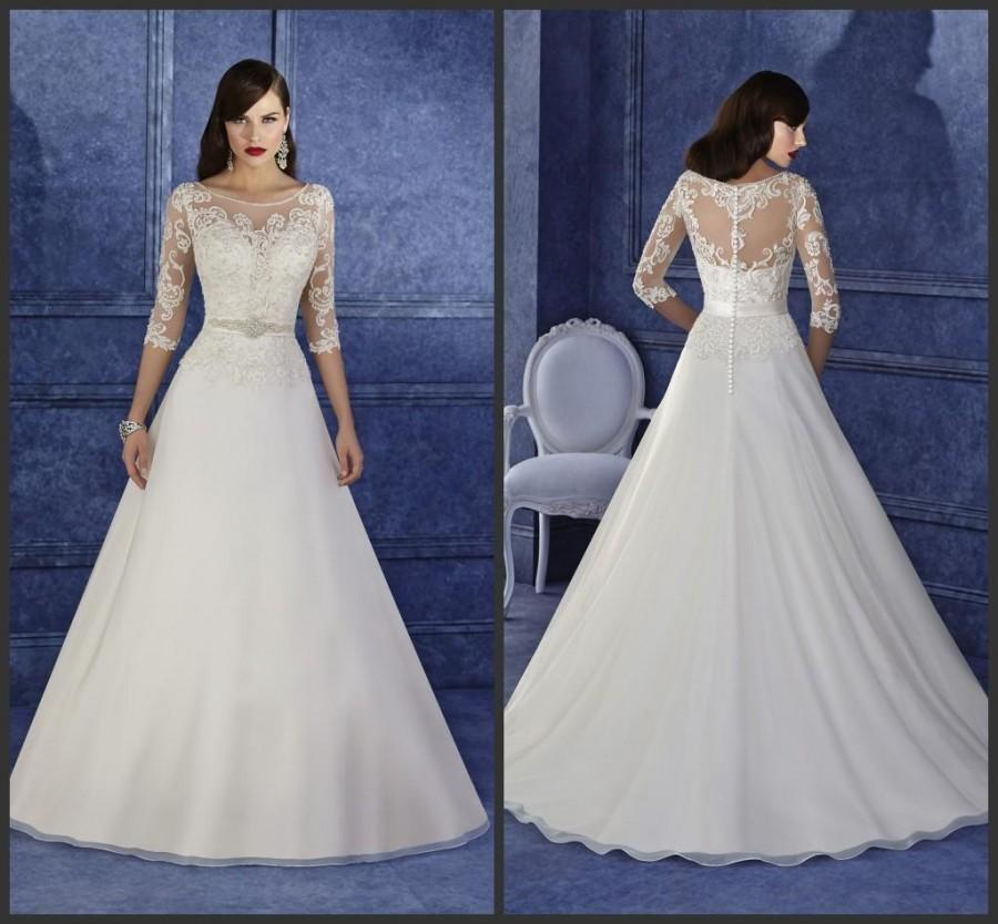 Wedding - Elegant Lace Applique Wedding Dresses Half Sleeve Sheer Illusion Scoop Organza Beads Sash Sweep Train Church 2016 Bridal Ball Gowns Custom Online with $105.93/Piece on Hjklp88's Store