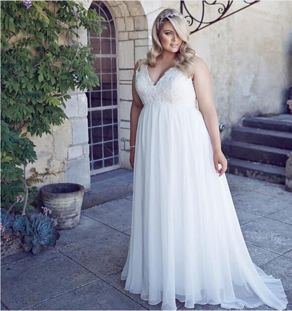 5b5d67f4776 Stunning A-Line Chiffon Simple Wedding Dresses Summer Style 2016 Plus Size  Lace-Up Deep V-Neck Ball Gowns Lace Appliques Women Bridal Online with ...