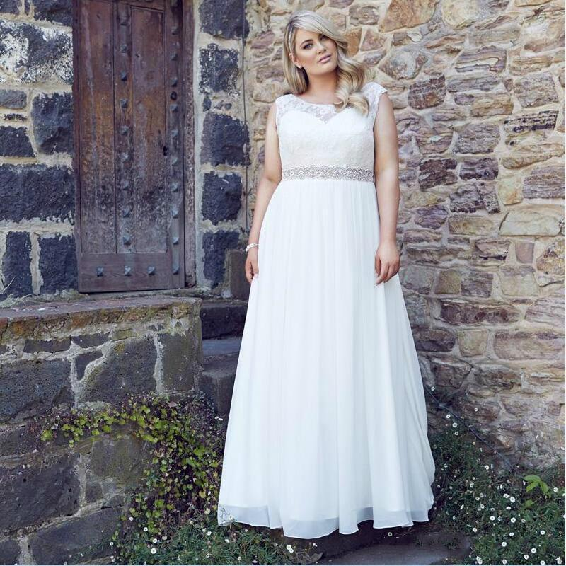 Vintage Plus Size Wedding Dresses 2016 Sheer Large A Line Scoop Beach Wedding