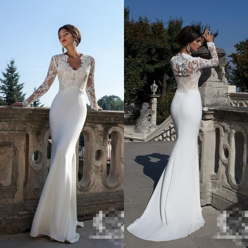 Wedding - New Glamorous Mermaid Wedding Dresses with Long Sleeves Lace Applique Sheer Illusion Sweep Train Satin Lace Formal Bridal Gowns Gowns Online with $106.71/Piece on Hjklp88's Store