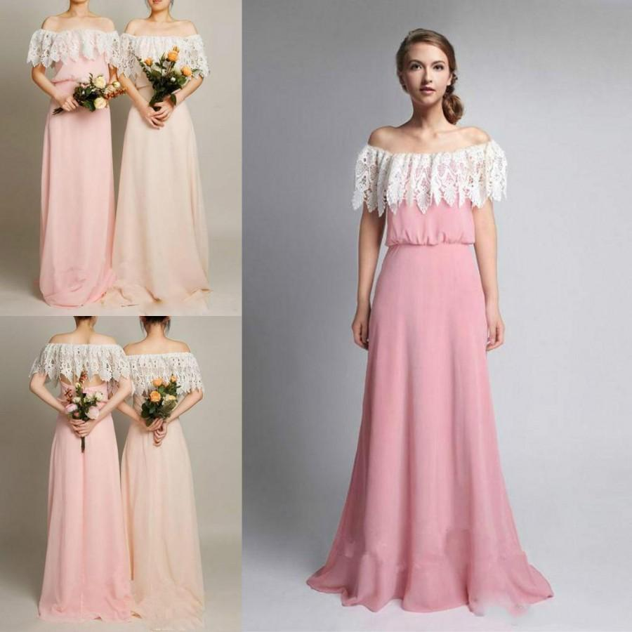 Spring 2016 Lace Bridesmaid Dresses Off Shoulder Hollow Back Bridesmaids S Dress For Wedding A Line Chiffon Beach Formal Evening Gowns Online With