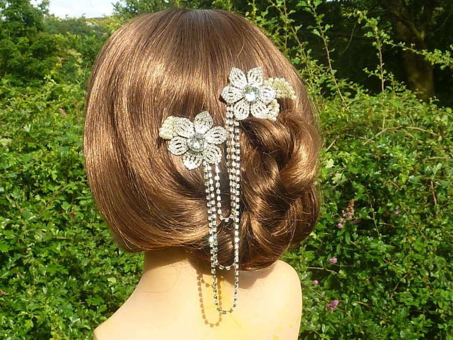 Hochzeit - Bridal Hair comb duo hair chain with vintage rhinestone flowers, rhinestone cupchain drapes and ivory pearl leaves