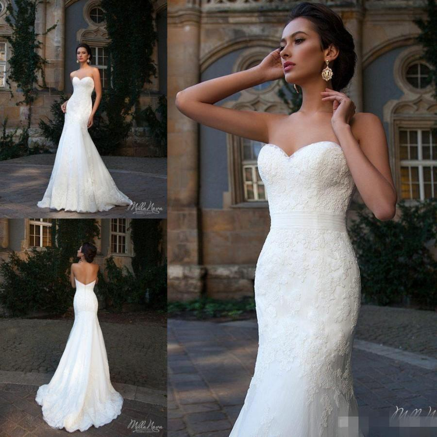 simple style 2016 sweetheart lace wedding dresses