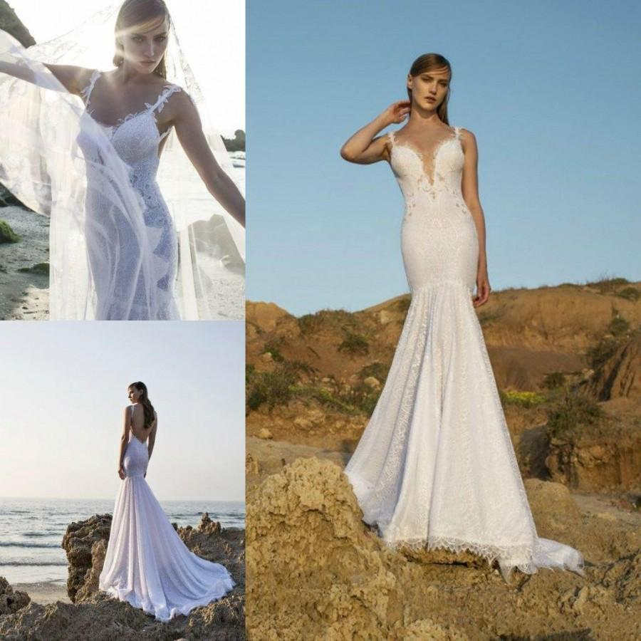171da1a73bdef Sexy Garden Beach Lace Wedding Dresses Spaghetti Neck 2016 Mermaid Fitted  Bodice Backless Chapel Train Nurit Nen Bridal Ball Dress Online with  $108.25/Piece ...
