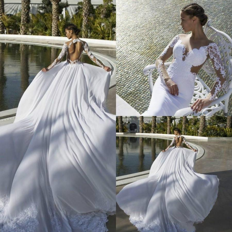 Wedding - Sexy Nurit NenWedding Dresses Backless Long Sleeve Chiffon Spring Court Train Vestido De Novia Cheap Garden Bridal Gowns Ball Dress Online with $108.25/Piece on Hjklp88's Store