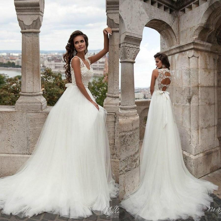 Elegant Lace Wedding Dresses Scoop Neck Hollow Back Beads Bridal ...