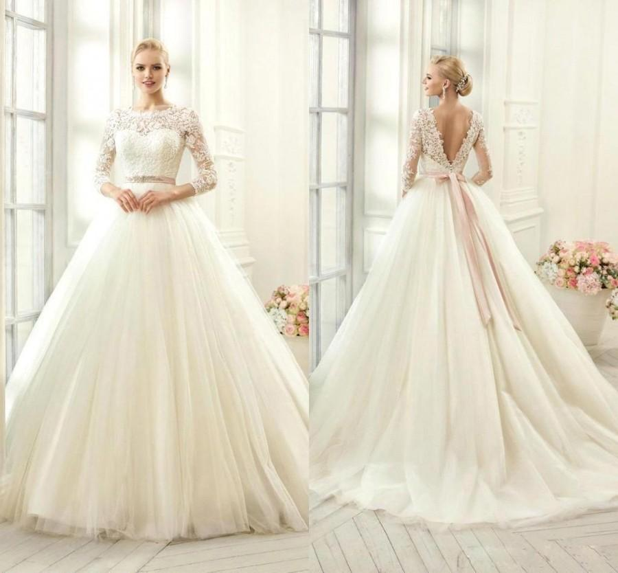 2016 New Sheer 3 4 Long Sleeves A Line Wedding Dresses