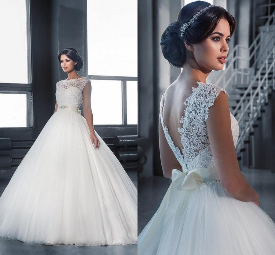 Свадьба - Backless Ball Gown Wedding Dresses 2016 Jewel Neck Floor Length Tulle Bridal Gowns Custom Made Sleeveless Cheap Wedding Gowns Online with $111.35/Piece on Hjklp88's Store