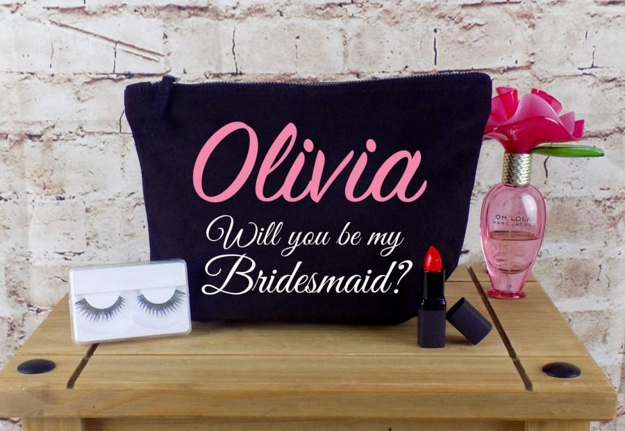 Will You Be My Bridesmaid Personalised Make Up Cosmetic Bag Maid Of Honour Gift Unique For Bridal Party Ask The Chief
