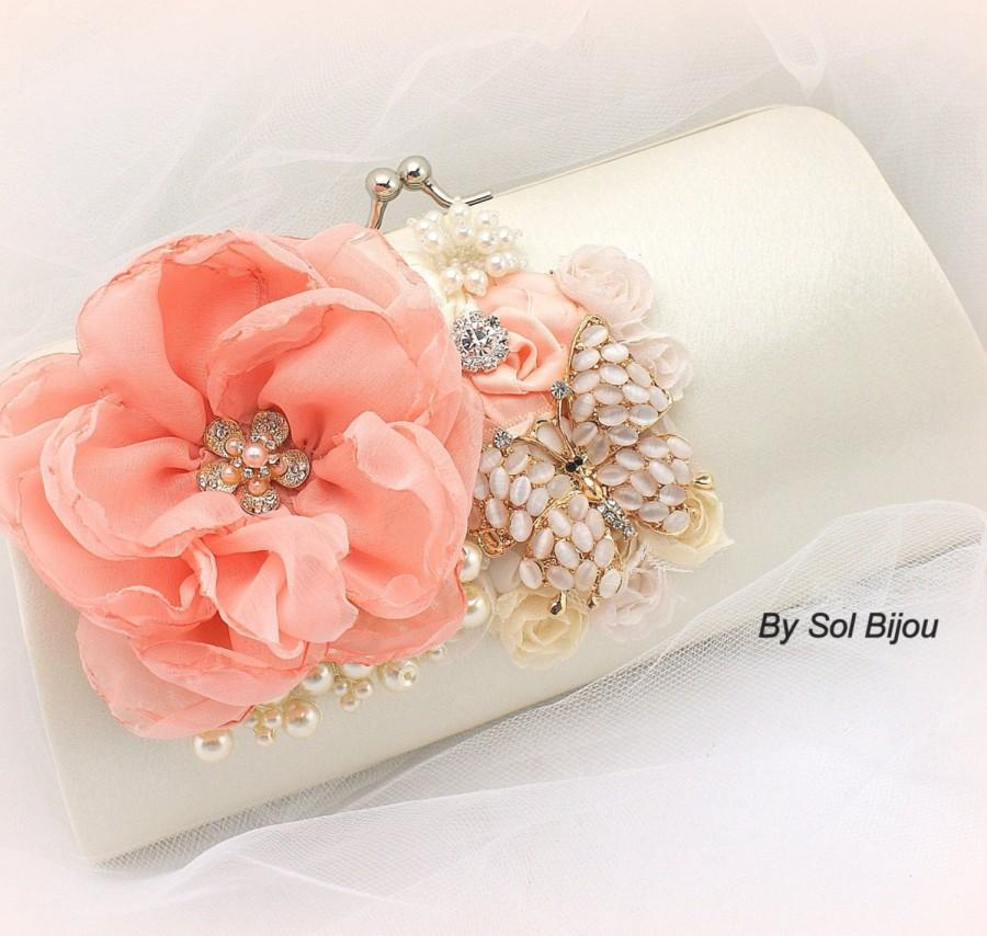 Hochzeit - Clutch, Coral, Peach, Ivory, Gold, Vintage Wedding, Elegant, Bridal, Butterfly, Handbag, Purse, Maid of Honor, Satin, Pearls, Crystals
