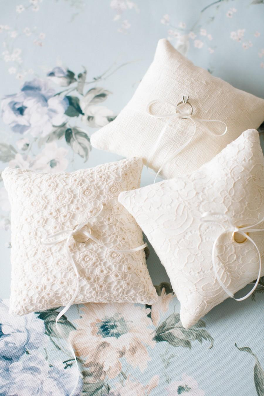 Ring Bearer Pillow Ivory Wedding Lace Rustic Cushion Box