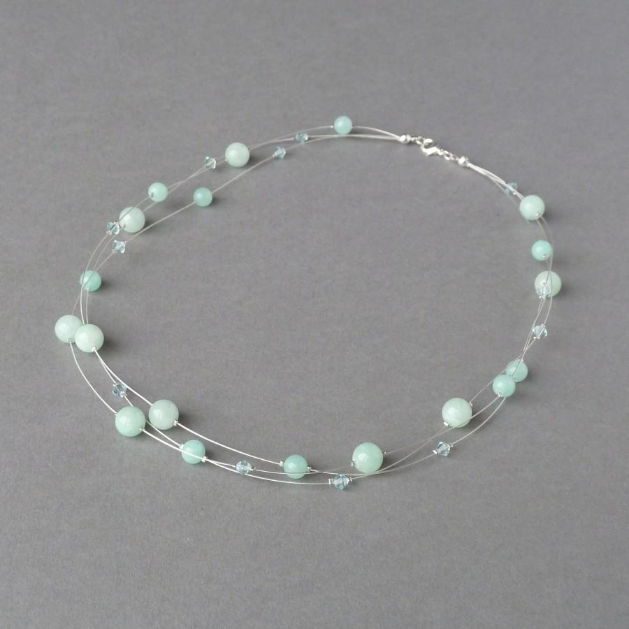 Wedding - Grayed Jade Multi-strand Necklace - Mint Green Bridesmaid Jewellery - Aqua Necklaces - Spearmint Bridal Party Gifts - Sage Wedding Jewelry