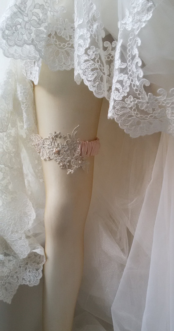 زفاف - Wedding Garter, Wedding leg garter, Pink Ribbon Garter , Wedding Accessory, İvory Lace accessories, Bridal garter, Garter