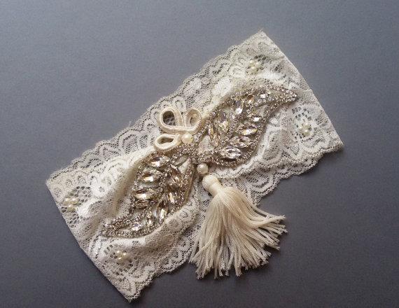 زفاف - Wedding garter, Garter, Wedding leg garter, Ivory Lace Garter , Bridal Tassel Garter , Wedding Accessory, Rhinestone garter
