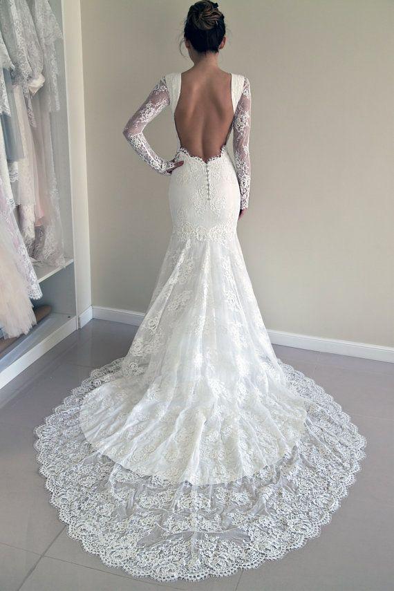 Wedding - Lace Wedding Dress, Custom Made Wedding Dress, Trumpet Silhouette Wedding Dress, Open Back Lace Dress, Hourglass SIlhouette Wedding Gown