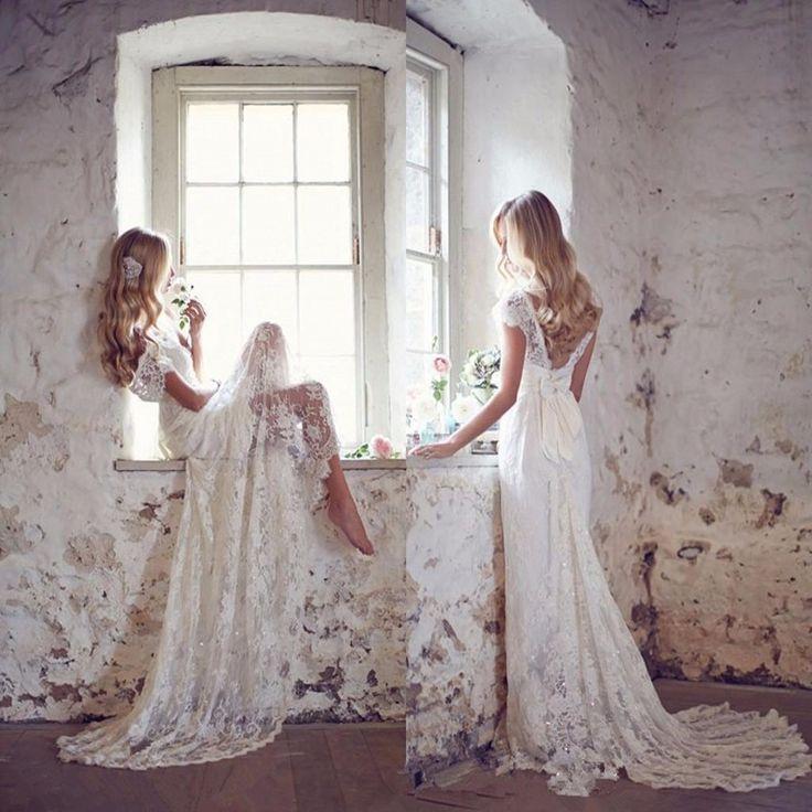 Wedding - Lace Boat Neck A-Line Wedding Dress