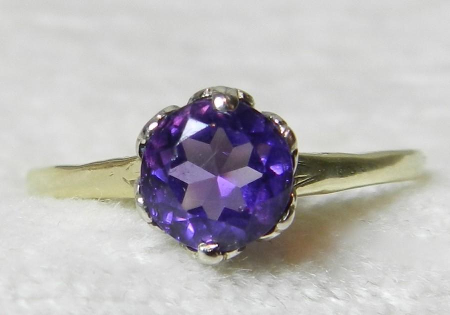 amethyst engagement ring 14k 6 prong crown setting orange