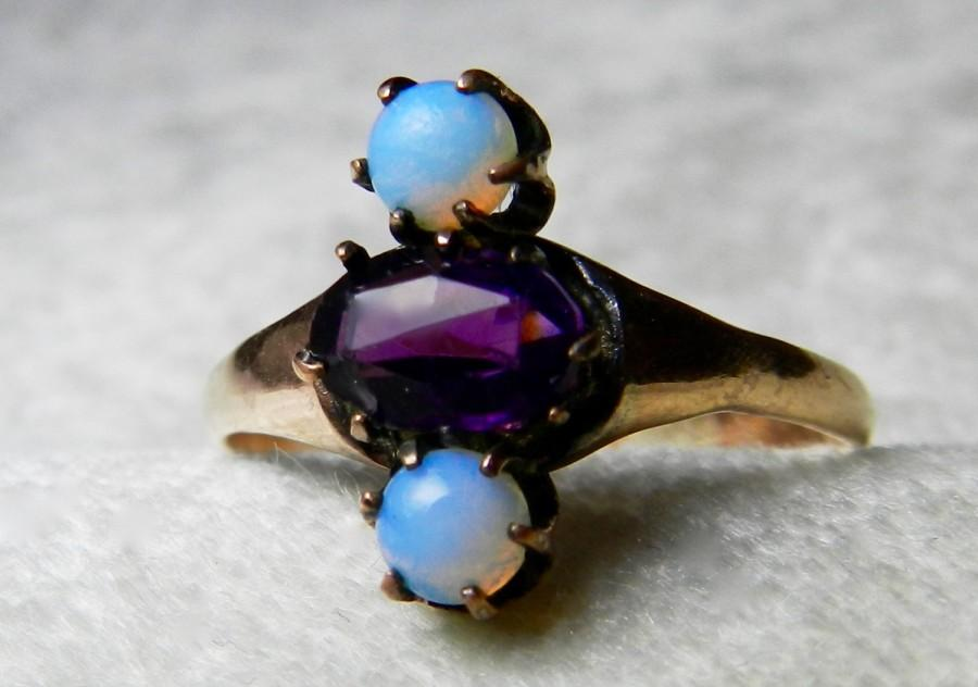 Victorian Ring 14K Rose Cut Amethyst Ring Unique Engagement 1800s