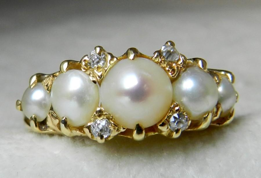 Pearl ring antique pearl ring cushion cut diamond ring for Pearl engagement ring with wedding band