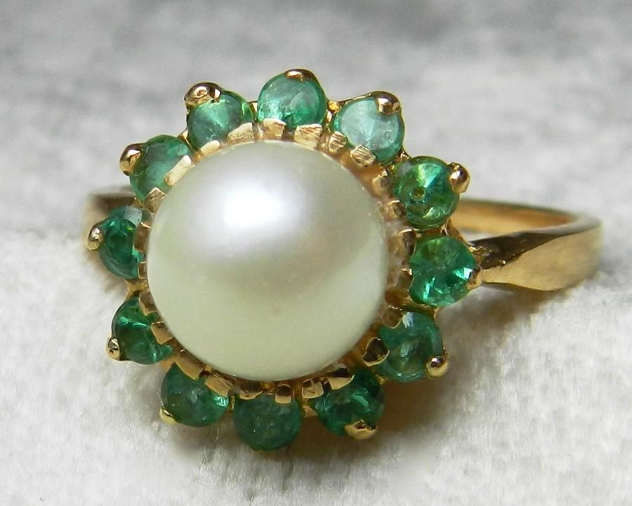 18k pearl ring unique engagement l 233 on pearl emerald