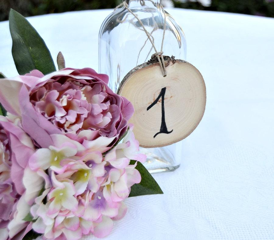 Mariage - Wedding Table Number Wood Slice. Set of 5. Rustic Wedding Tree Slice Table Numbers. Wood Ornament Table Number.Rustic Outdoor Wedding Party