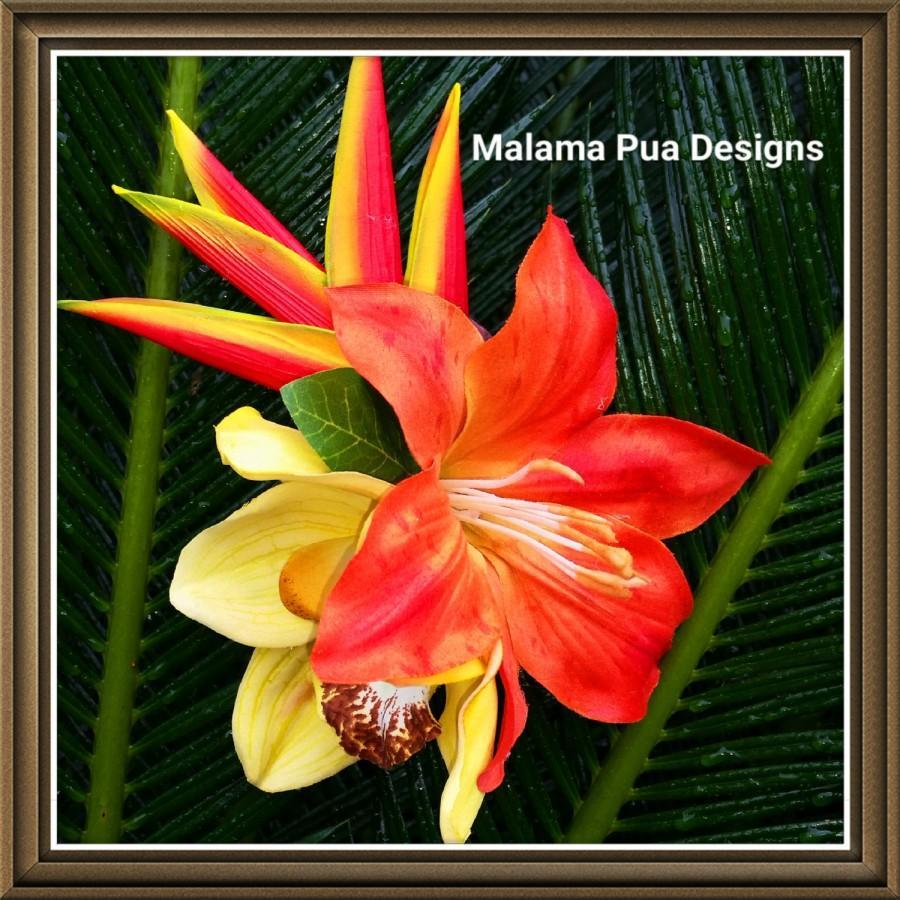 Tropical Hair Flower Clip Bridal Silk Flower Hair Accessory
