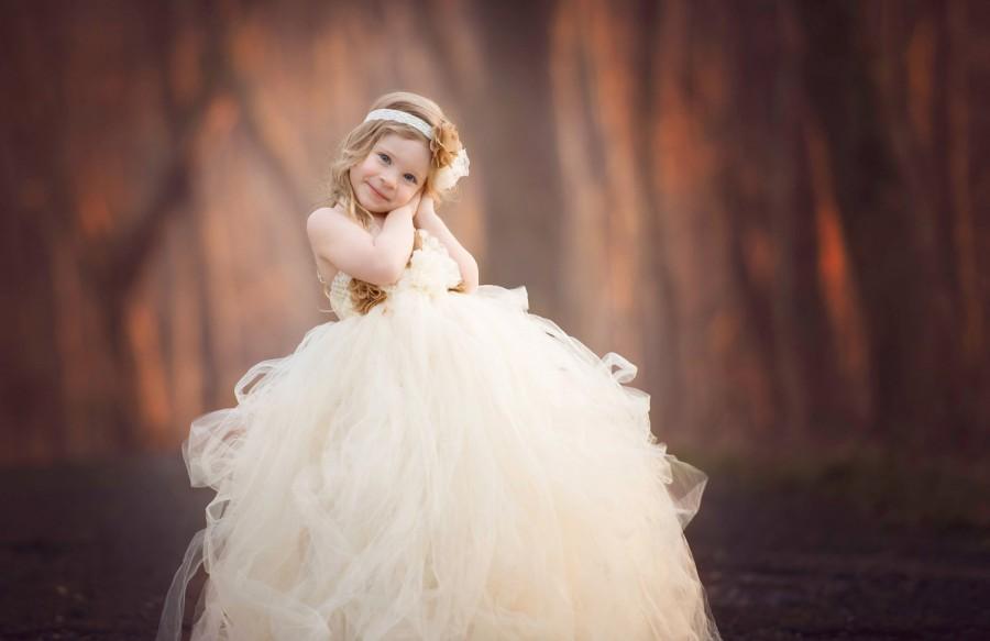Wedding - ivory tulle tutu flower girl dress- flower girl dress- ivory flower girl dress- rustic flower girl dress - burlap flower girl dress - tutu