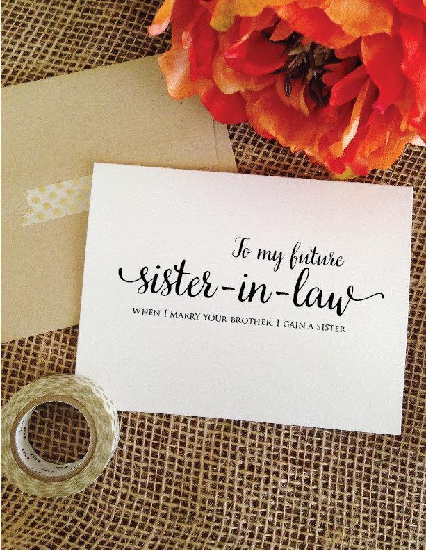 زفاف - To my future sister in law when I marry your brother I gain a sister wedding card (Lovely)