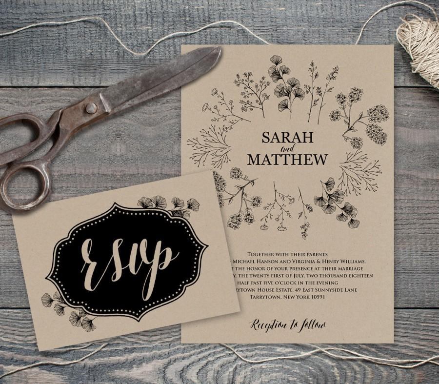 rustic wedding invite template printable wedding invitation suite instant download diy kraft. Black Bedroom Furniture Sets. Home Design Ideas