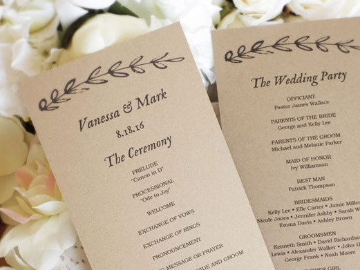 printable wedding program template kraft paper wedding programs