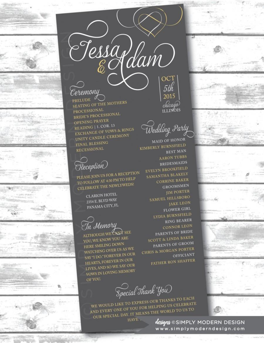 wedding ceremony program modern hearts printable or printed