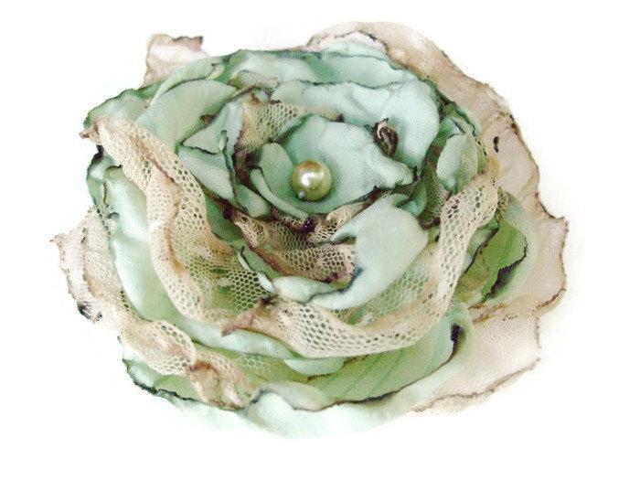 Свадьба - Wedding Hair Flower, Tea Stained Mint Blue Green flower, Made to order, Maternity Sash, Bridal Sash