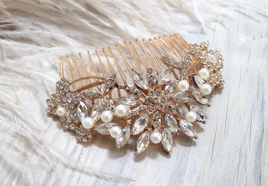 Hochzeit - Bridal Rose Gold Crytal Pearl Hair Comb. Vintage Rhinestone Flower Jewel Wedding Headpiece. ROSANNE