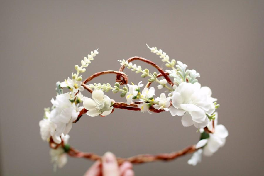 Woodland bridal hair wreath white flower crown floral wedding woodland bridal hair wreath white flower crown floral wedding headpiece flower circlet hair accessories mightylinksfo