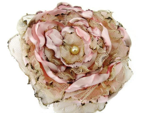 Hochzeit - Pink Satin with tea stained tulle Flower Accessory, bridal hair piece
