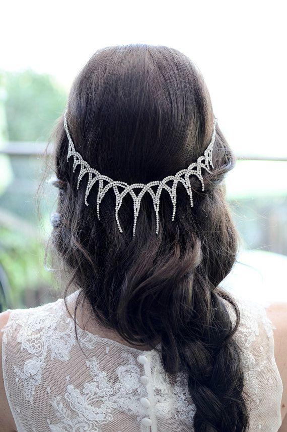 Свадьба - Rhinestone Drop Chain Headpiece, Bridal Headpiece, Boho Headpiece, Gatsby Headpiece, Vintage Headpiece, Weddings, Accessories