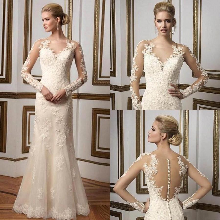 2016 A Line Wedding Dresses Long Sleeves Scoop Sheer