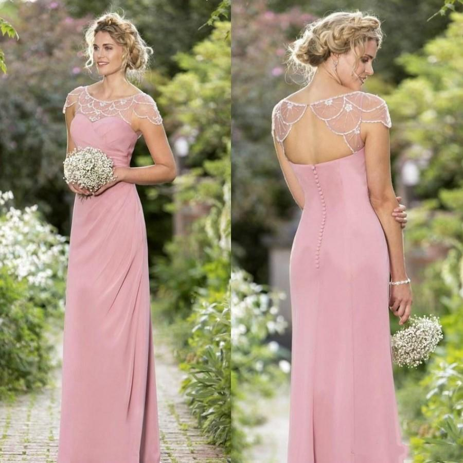 Long Beads Mermaid Mother Of Bridal Dresses Jewel Neck Crystal Motheru0027s  Formal Wear Hollow True Bride Spring Long Pink Prom Evening Gowns Online  With ...