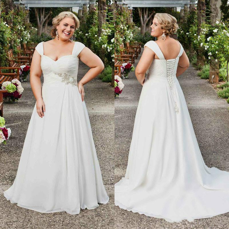 Elegant plus size wedding dresses sweetheart beads ruched for Plus size wedding dress store