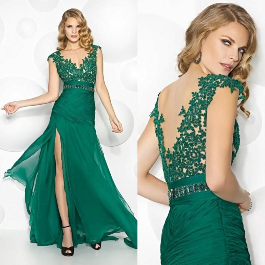 Noble 2016 Lace Mother Of The Bride Dresses Green Side Split Mothers ...