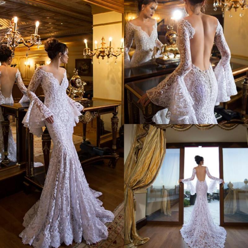 Boda - Sexy Lace 2016 Beach Backless Wedding Dresses Deep V-Neck Arabic Long Sleeves Illusion Sheer Summer Bridal Ball Gowns Garden Open Back Online with $122.94/Piece on Hjklp88's Store