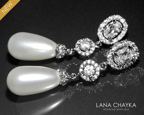 White Teardrop Pearl Bridal Earrings Swarovski Pearls Silver Cubic Zirconia Wedding Jewelry